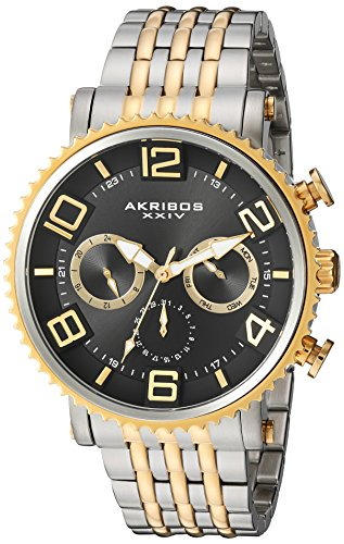 Akribos XXIV Men's Quartz Multi-Function Gold-Tone Accent...