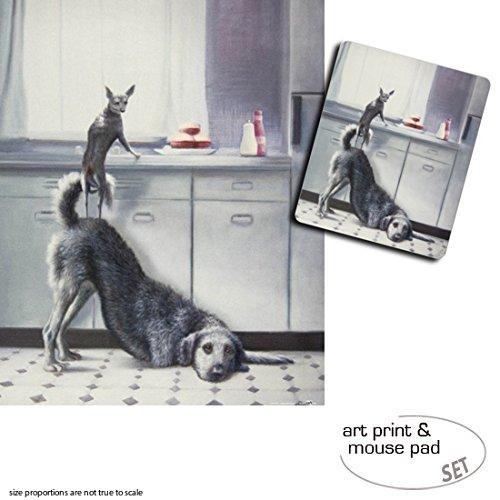 Set Regalo: 1 Póster Impresión + Artística (50x40 cm) + Impresión 1 Alfombrilla para Ratón (23x19 cm) - Perros, Trabajo En Equipo, Dos Perros, Tres Hamburguesas 89a21a
