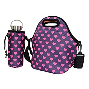 YAMAY® Neoprene Water Risistant Insulated Lunch Tote Bag Box Container Cooler with Strap Carry Water Bottle Bag Sleeve Holder Covers Carrier Pouch Fashionable for Women Men Kids Girls Adults