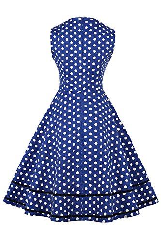 Bleu Vintage Longue C Hepburn Femme Coton Col en Pois ur Elgante Swing Manche Imprime MisShow Mi Audrey Robe Style sans BYHqxEqw1