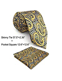 Shlax&Wing Mens Necktie Ties Yellow Blue Paisley Silk New Fashion Wedding