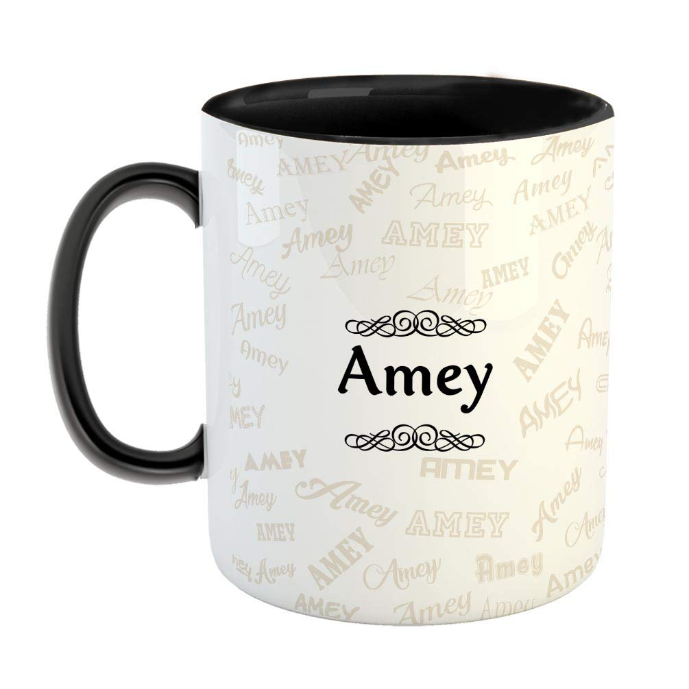 Buy Furnishfantasy Ceramic Coffee Mug Best Personalised Gift For Happy Birthday Color Black Name Amey Online At Low Prices In India Amazon In