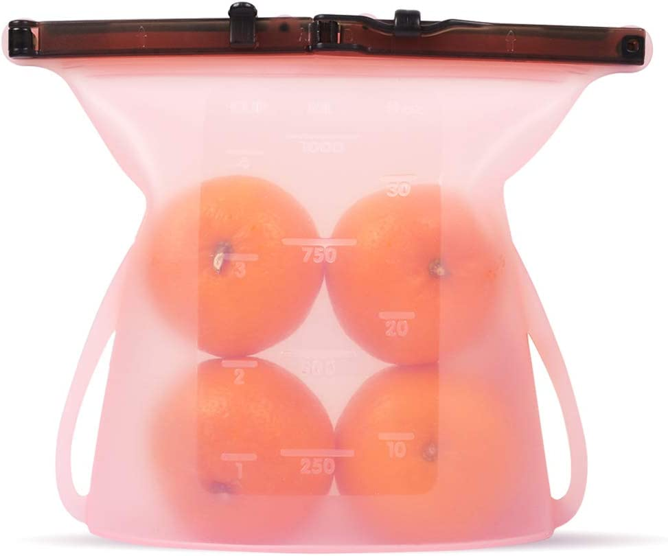 Reusable Silicone Food Storage Bags, Leakproof Sealing Double Clip Airtight Food Preservation Containers for Sous Vide, Liquid, Snack, Lunch, Fruit, Dishwasher Safe (Pink)