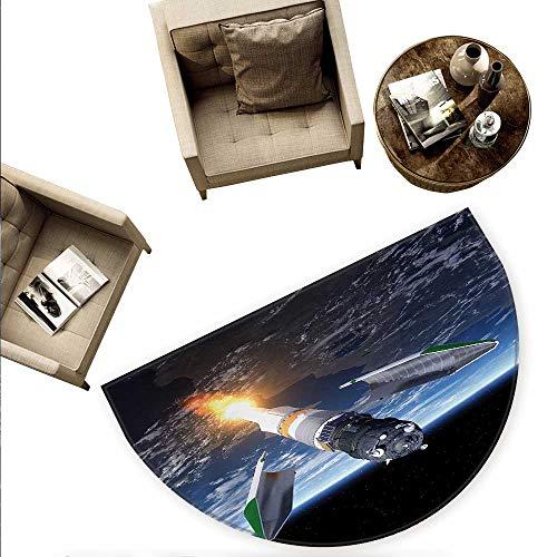 Outer Space Half Round Door mats Launch of Cargo Spacecraft in Progress Rocket Takes Off Cosmos Universe Bathroom Mat H 78.7