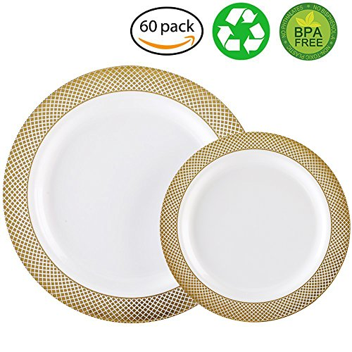 60PCS Heavyweight White with Gold Rim Wedding Party Plastic Plates,Dinnerware Sets,30-10.25inch Dinner Plates and 30-7.5inch Salad Plates -WDF (White/Gold Diamond)