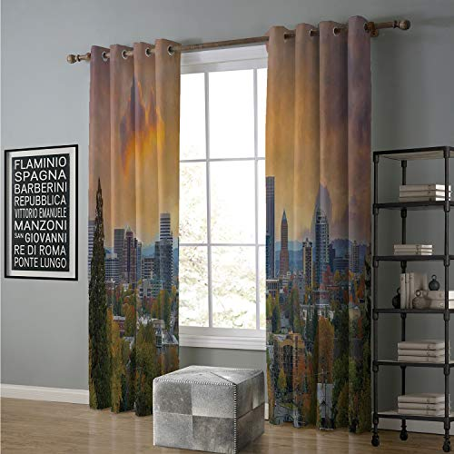 alilihome Blackout Curtain Home Decoration 120 by 84 Inch Oregon,City of Portland in Autumn Season Downtown and Business District Urban Photography,Multicolor (Oregon Furniture Portland Patio)