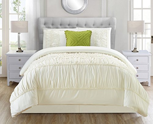 5 Piece Jervis Ivory Comforter Set King