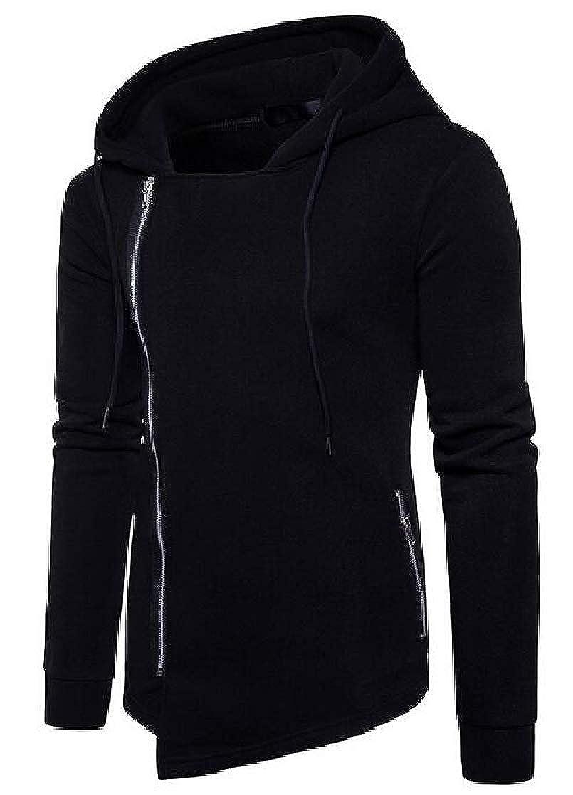 Suncolor8 Mens Plus Size Side Zipper Outerwear Jacket Asymmetric Slim Hoodie Sweatshirt Coat