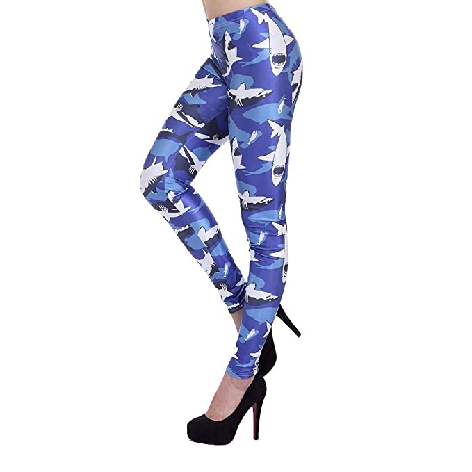 HXX Yoga Pants Women Leggings 3D Printed Blue Shark Sexy ...