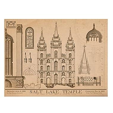1853 Salt Lake Temple Blue Prints - 18 x 24  - Mormon LDS
