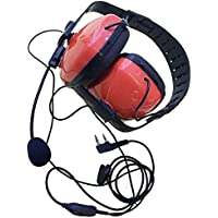 DONG Noise canceling with mic plug headset PTT Mic Earpiece headphone for kenwood puxing tyt baofeng weierwei etc walkie talkie 2pin(Red Color )