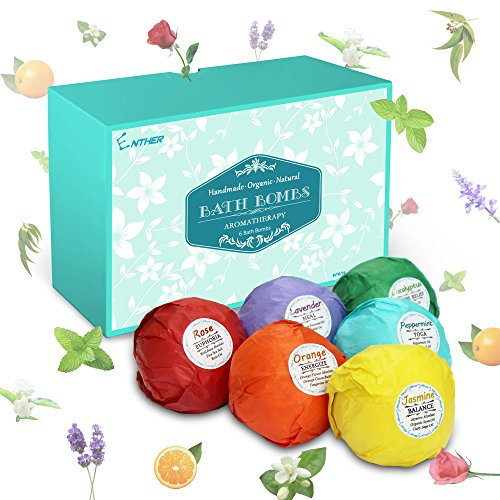 Enther Bath Bombs Gift Set, 6 Pack Large Size (3.18 Oz/ea) Handmade Organic Essential Oil Bathbombs for Adults and Kids, Perfect for Bubble Bath, Pearl Aromatherapy Bath Bomb in Gift (Relax Pack Gift Set)