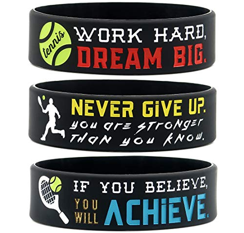 (6-Pack) Motivational Tennis Wristbands with Sports Quotes - Tennis Gifts Jewelry Accessories for Tennis Players Team Awards Party Favors - Unisex for Men Women Youth Teen Girls Boys