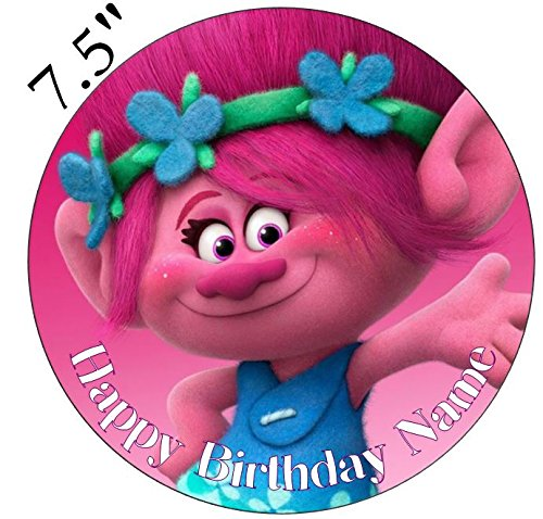 Personalised Trolls Poppy Edible Icing Cake Topper 75inch Precut Personalise At The Review Your Order Section Add Gift OptionsRound Amazoncouk
