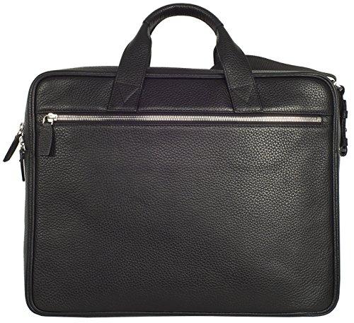 Businesstasche mit zwei Fächern für Akten und einen Laptop bis 15,6 aus hochwertigem Leder (Schwarz) Schwarz