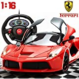 Toyshine 1:16 Ferrari Remote Control Car with Opening Doors, Gravity Sensing Remote (Rechargeable)