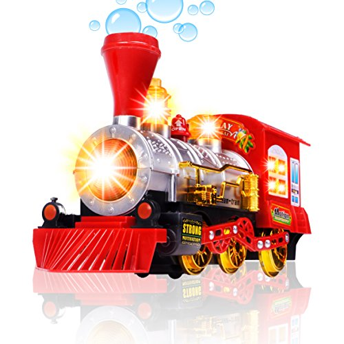 Live Steam Trains - CifToys Bubble Blowing Toy Train - Battery Powered Steam Bubbles Locomotive Engine Car- Colorful Lights & Fun Sounds - Constant Motion & Automatic Change of Direction – 3 and Up