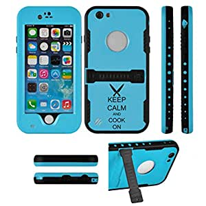Apple iPhone 6 6s Premium Waterproof Shockproof Dirt Snow Proof Case Cover Keep Calm and Cook On Chef Knives (Light Blue)