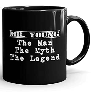 Personalized Mens Gift! Mr. Young The Man The Myth The Legend - Black Coffee Mug Cup for Dad Boyfriend Husband Grandpa Brother - Great in The Morning or The Office