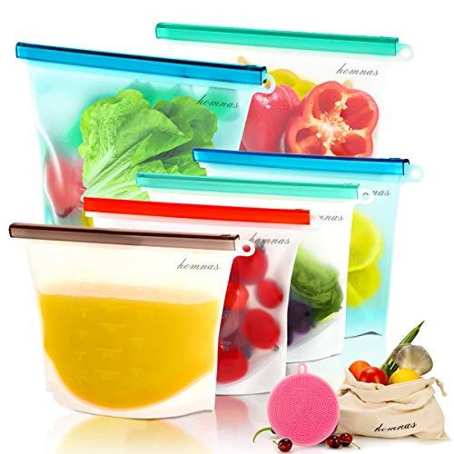 Reusable Silicone Food Storage Bags -2xLarge 1500ml, 4xMedium 1000ml, free freezer Bags,with 2 bonus gift, Leakproof…