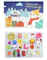 CaCaCook Adventskalender 2021, julkalender med 24 stycken sensoriska fidget-leksaker, fidgetbox med pop it-fidget-leksak,