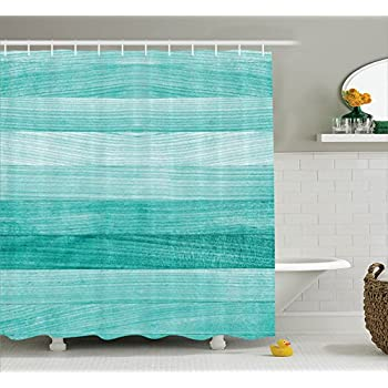 Teal Decor Shower Curtain Set By Ambesonne, Painted Wood Texture Penal  Horizontal Lines Birthdays Easter