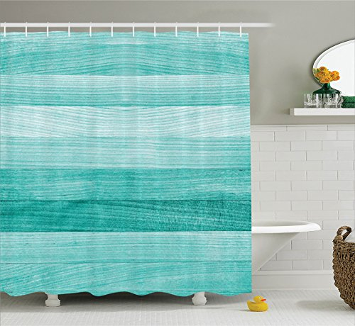 Teal Decor Shower Curtain Set By Ambesonne, Painted Wood Texture Penal Horizontal Lines Birthdays Easter Holiday Print Backdrop, Bathroom Accessories, 75 Inches Long, Turquoise