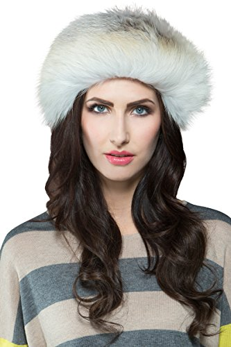 EM-EL Women's Golden Island Shadow Fox Fur Headband by EM-EL