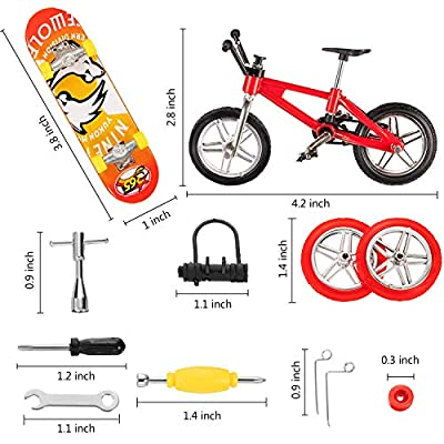 Gejoy 16 Pieces Finger Skateboard Finger Bike Set Mini Skateboard Finger Bicycles with Replacement Wheels and Tools: Toys & Games