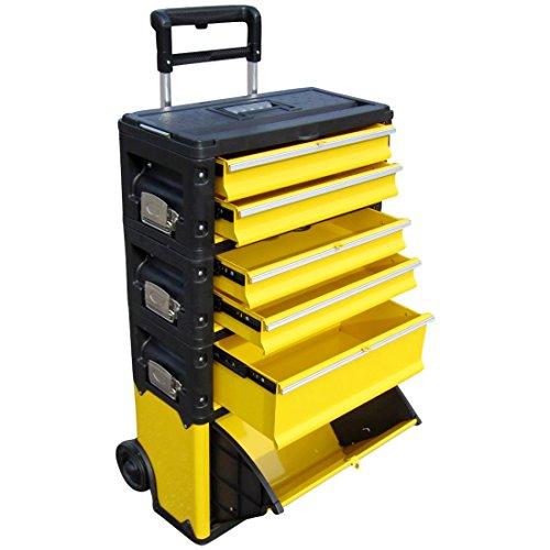 ASS Profi - Caja de herramientas con ruedas (acero, 5 compartimentos y caja con tapa, muy resistente): Amazon.es: Industria, empresas y ciencia