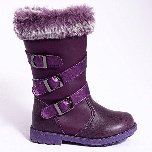 Enfants Tout-petits Filles Childrens Purple Fausse Fourrure Bottes Plates En Cuir Du Genou Haute Couture