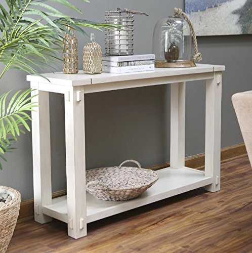 Weathered Grey Oak Finish 3 Tier Metal X Design Bookcase Bookshelf Console Sofa Table EHomeProducts NT 60209
