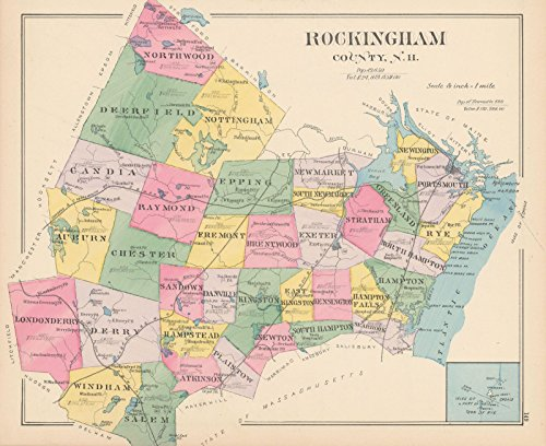 Town and City Atlas of the State of New Hampshire, Rockingham 1892  24in x 28in Historic County Map Vintage Reprint