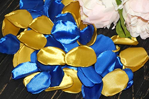 Royal Blue Rose Petals, Set of 100, Gold Wedding Decor, Flower Girl Petals, Beach Wedding, Cake Table Decor, Blush Birthday, Bright Gold, Aisle Runner Petals -