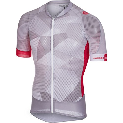 Castelli Climber's 2.0 Full-Zip Jersey - Men's Light Gray/Red, XL
