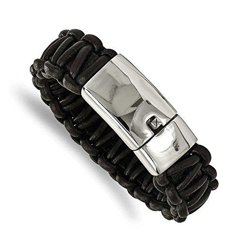 """En acier inoxydable poli pour femme Bracelet en cuir tressé rond noir JewelryWeb - 8,5 """""""