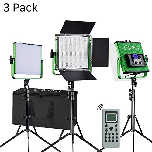 LED Video Lights GVM 520 3-Packs Professional Metal Bi-Color for Studio, Wireless Remote Control, LCD Panel,Professional Video Shooting, Durable Metal Frame, 3200-5600K, CRI 97+