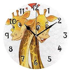 Dozili Black Cartoon Giraffe Wooden Round Wall Clock Arabic Numerals Design Non Ticking Wall Clock Large for Bedrooms,Living Room,Bathroom