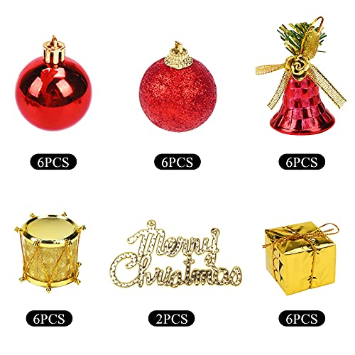 LoveInUsa Christmas Tree Ornaments Set, 32PCS Mini Christmas Red and Gold Ball Ornaments Decoration for Christmas Trees