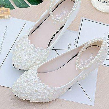 SHUAI&shoes mejor regalo para mujer y madre Mujer Zapatos Encaje PU Primavera Otoño Talón Descubierto Zapatos de boda Tacón Bajo Dedo Puntiagudo Dedo redondo Cuentas Perla de