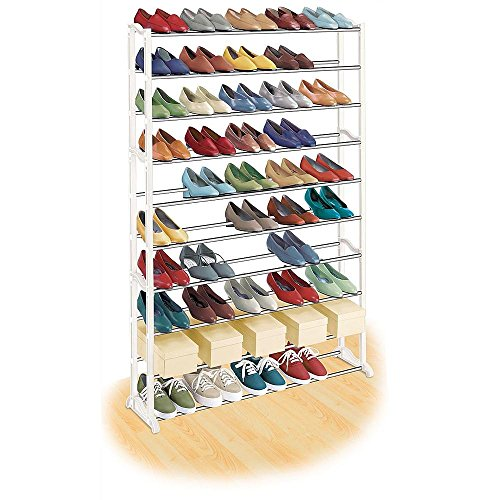 50 Pair Shoe Rack, White Metal - Quality Shoe Rack / Shoe Organizer. Great Shoe Storage Solutions, Shoe Rack for Shoes, Kids Shoe. Premium Shoe Racks