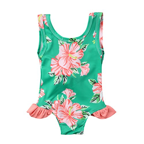 One Ruffle Piece Swimsuit Infant (Toddler Baby Girl Floral Swimsuit Ruffle Sleeveless Bowknot Romper One Piece Swimwear (Green, 18-24M))