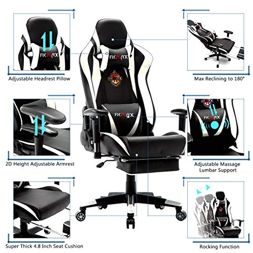 Ficmax Massage Gaming Chair Reclining Racing Office Chair Ergonomic Gamer Chair for Adult with Footrest High Back PU Leather Computer Chair Plus Size Video Game Chairswith Headrest and Lumbar Support