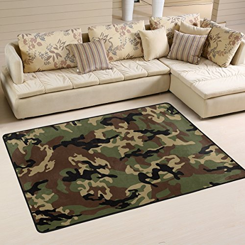 Naanle Camo Area Rug 2'x3', Camouflage Polyester Area Rug Mat for Living Dining Dorm Room Bedroom Home ()