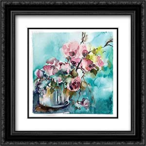 Pink and Blue Still Life 2x Matted 20x20 Black Ornate Framed Art Print by Rodionov, Sophia