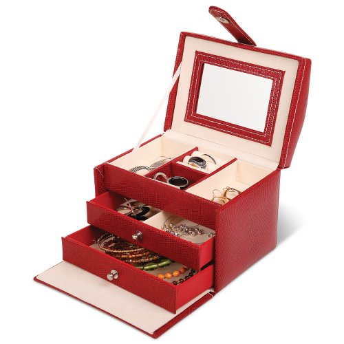 Launch Innovative Products Fiona Red Leatherette Mini Jewelry Box with Snake-skin Design - Organizer Case for Rings, Bracelets, Necklaces, Earrings, and Watches - Travel (Fiona Music Box)