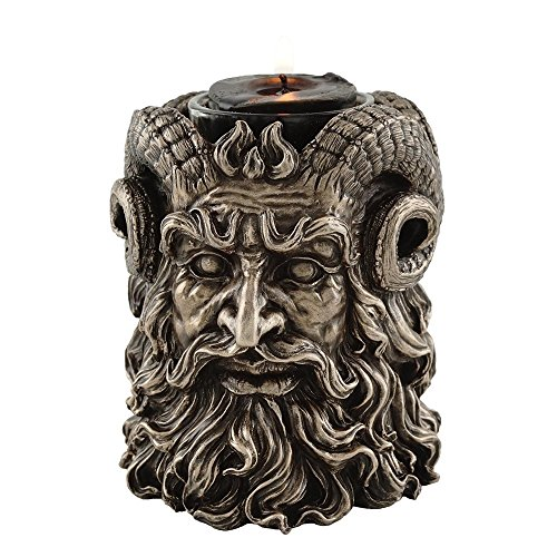 (Greek God Pan Dual-Sided Tea Light Candle Holder, 4-inch Tall)