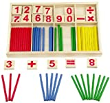 VIAHART Pine Wooden Counting and Arithmetic Set with Box | Math Manipulatives Colorful Wooden Counting Rods Sticks | Preschool Educational Toys for Kids | Simple Montessori Teaching Aids