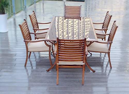 Pebble Lane Living All Weather Rust Proof Indoor/Outdoor 7 Piece Cast Aluminum Patio Dining Set, 1 Tempered Tinted Glass Top Dining Table & 6 Dining Chairs in Premium Olfen Cushions, Wood Finish