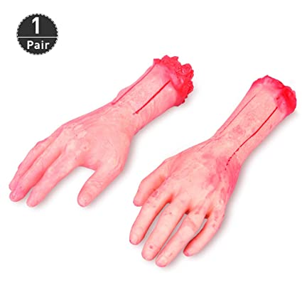 Halloween Scary Hands   Amazon Com Halloween Severed Hands 1 Pair Fake Human Arms Bloody